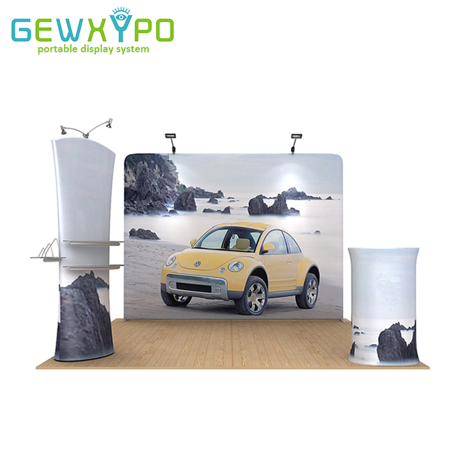 Exhibition Booth Height : 10ft*10ft exhibition booth size stretch fabric stand with graphic