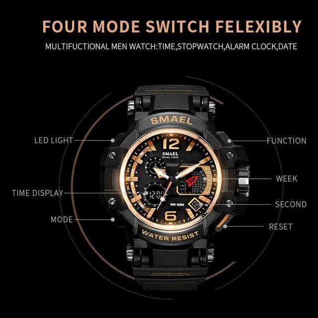 67865995d1d9 SMAEL deporte reloj de 50 M resistente al agua blanco SShock relojes hombre  reloj masculino ejército militar reloj hombres LED de alarma Digital ver