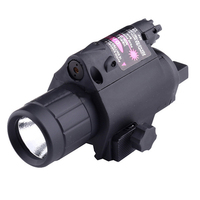 Outdoor 2 In 1 Gun Weapon Light Red Laser Super Bright 20mm Rail Led Tactical Flashlight