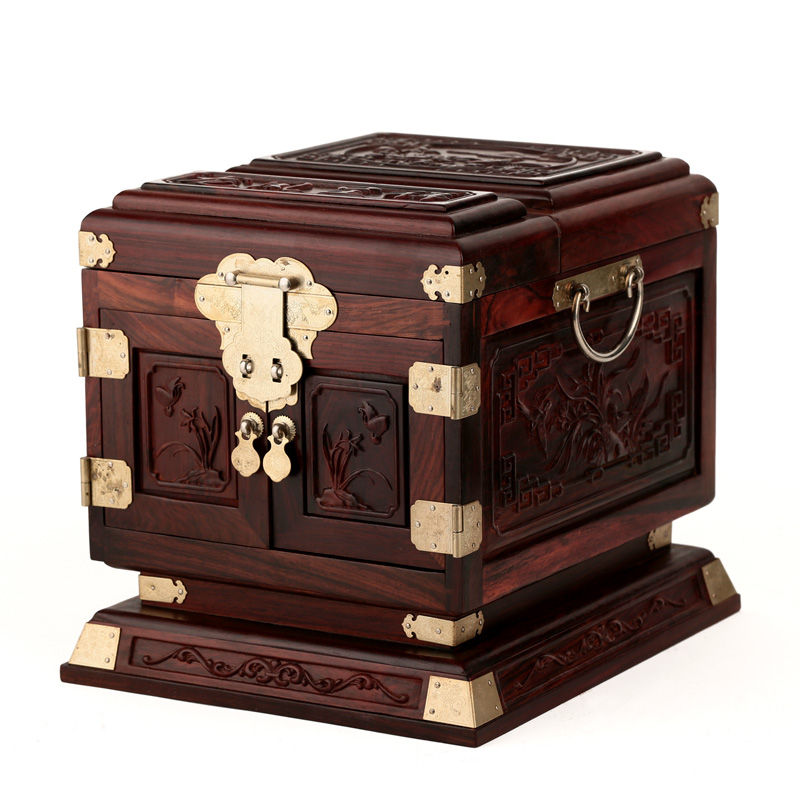Rosewood rosewood wooden jewelry box jewelry box carved wood wedding oversized box mirror with lock