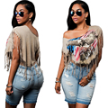 2016 Brand New Summer Womens T Shirts One Shoulder Tops Tees Tshirt Fashion For Women Plus Size Tassel T-shirt Ropa Mujer