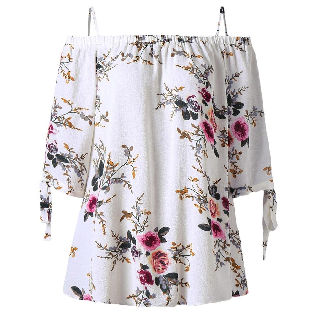 CharMma Plus Size 5XL Off The Shoulder Top Women Clothes Oversize Floral Print Summer Chiffon