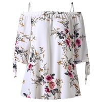 CharMma Floral Print Spaghetti Strap Off Shoulder Tops Sexy Plus Size Cold Shoulder Ladies Shirt