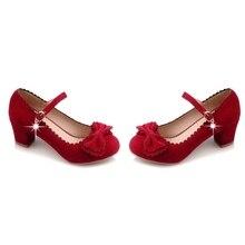 แมรี่เจนส์Nubuckฝูงหนังผู้หญิงพรรครองเท้ารอบนิ้วเท้าBowtie c haussure f emmeผู้หญิงรองเท้าmed 5.5เซนติเมตรรองเท้า