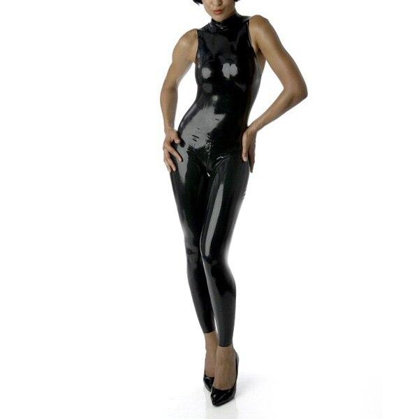Без рукавов Латекс комбинезон с задней молнии пикантные резиновые комбинезон купальник латекс Для женщин одежда (без перчаток)