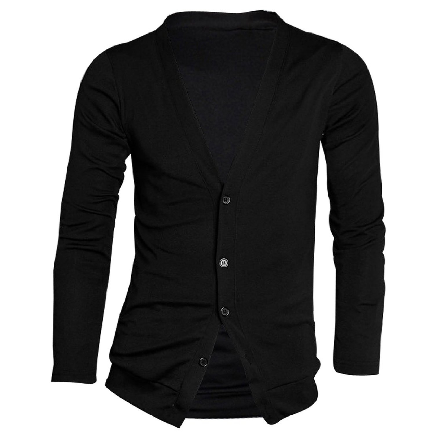 qepae MALL Men Long Sleeve Casual Slim Button Cardigans