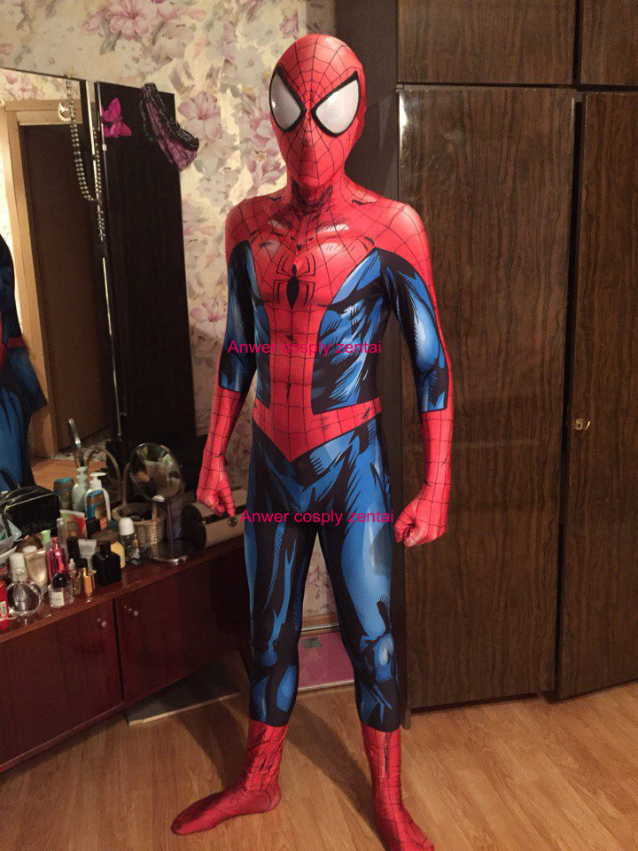 Ultimate Spiderman Costume 3D Shade Spandex Cosplay Halloween Spider-man Superhero Costume 2016 Newest Fullbody Zentai Suit ultimate spider man ultimate collection book 4