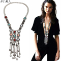 2017 Bohemian Chic Women Maxi Long Tassel natural stone rhinestone  Vintage Fashion Statement Necklaces and Pendants  Jewelry