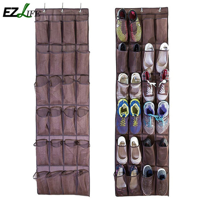 24 Pockets Transparent Hanging Closet 6 Layers Foldable Door Hanging Shoes  Storage Bag Multi Purpose