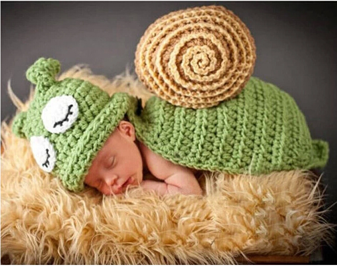 Baby Newborn photography props Turtle Knit Crochet Clothes Beanie Hat Outfit Photo Props Drop Shipping