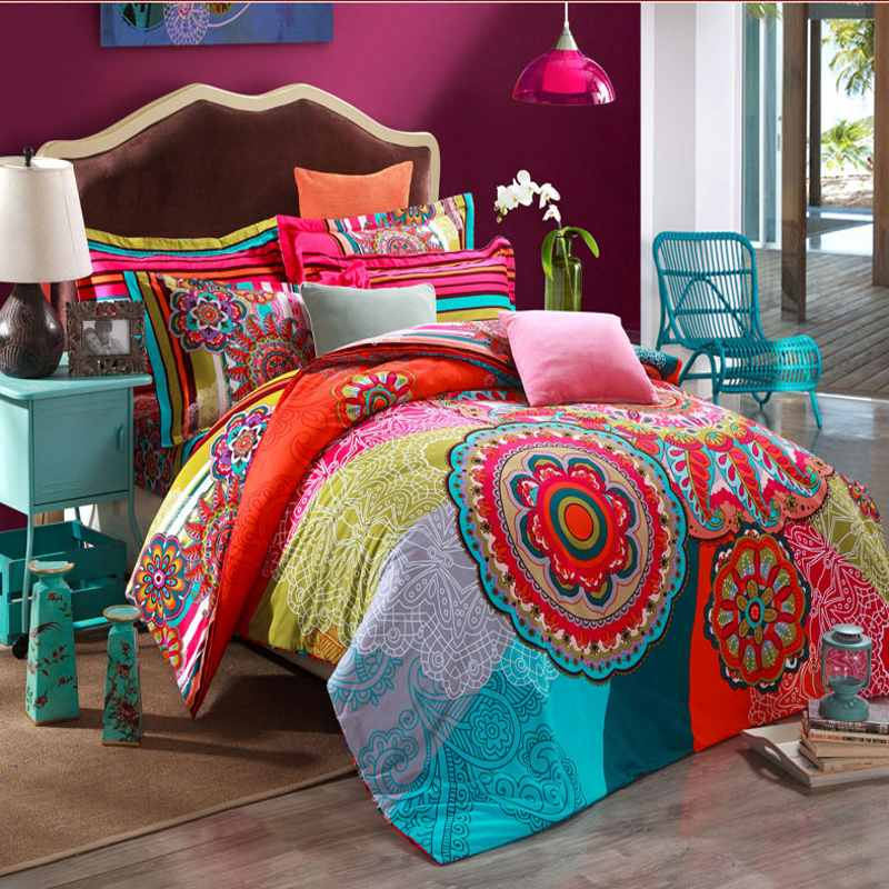 Warm Sanded Cotton Home Textile Boho Bedding Sets Queen