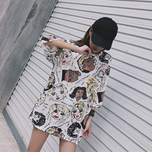 2019 Korean Style O-Neck T Shirt Women Cool Character Printed Short Sleeve T-shirt Mid Long Fashion Summer Loose Casual T Shirts