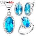 Uloveido Prata Cristal Conjunto De Jóias de Casamento com Pedras Azuis Colar De Titânio Mulheres Anel Brincos Conjunto De Jóias de Noiva Retro T010