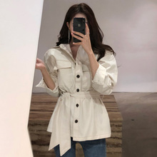 Ubei New style temperament lapel single-button high waist tops belt casual tops web celebrity denim shirt outwear fashion цена