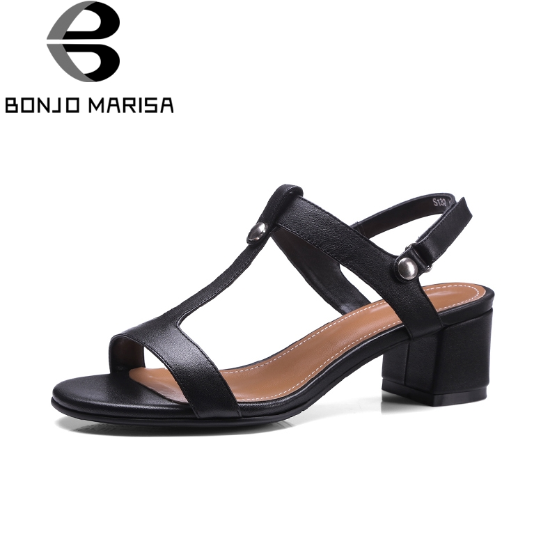 BONJOMARISA 2018 size33-40 nature cow genuine leather T-strap woman shoes woman sandals comfortable party summer sandal