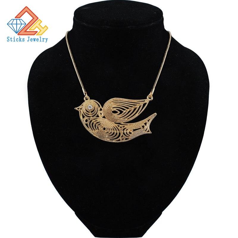Безопасный голуби золото Цепочки и ожерелья экологически чистые Материал дамы животных Птица Цепочки и ожерелья