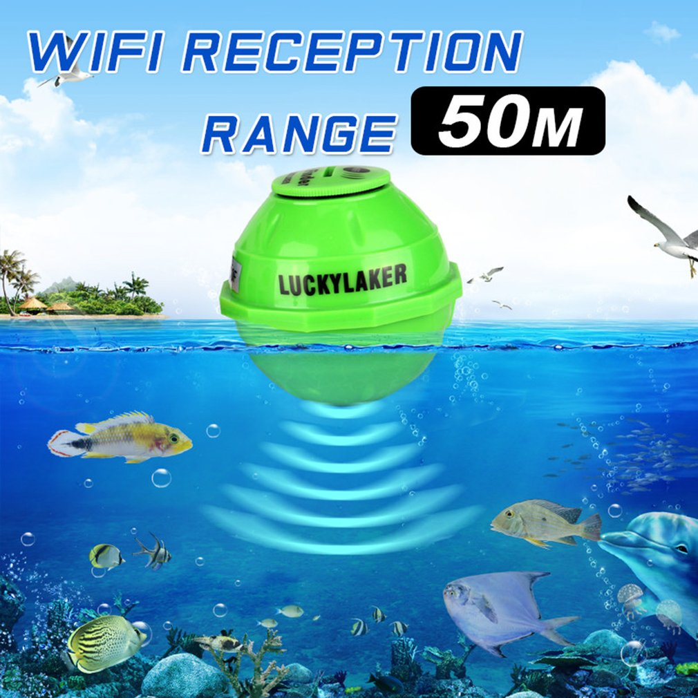 LUCKY Portable Waterproof Fish Finder 50M Wireless WIFI Range Sea Fish Detection Sonar Ocean Fishing Transducer For Android/IOS portable waterproof 200khz sonar lcd fish finder green background light max 100m range 40 degree angle detector cam transducer