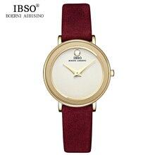 IBSO Brand 7MM Ultra-Thin Women Watches 2019 Luxury Genuine Leather Strap Fashion Quartz Watch Women Wristwatches Montre Femme