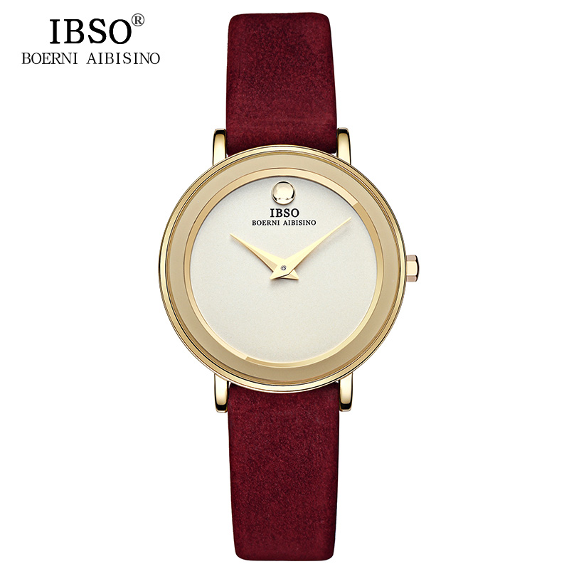 IBSO Brand 7MM Ultra-Thin Women Klockor 2019 Luxury Äkta Läder Rem Fashion Quartz Watch Klockor Armbandsur Montre Femme