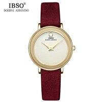 IBSO Brand 7MM Ultra Thin Women Watches 2019 Luxury Genuine Leather Strap Fashion Quartz Watch Women Wristwatches Montre Femme