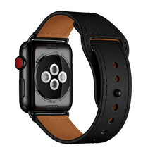 Black Genuine Leather Watch Band Strap For Apple Watch 38mm 42mm , VIOTOO Leather Loop Watch strap Band For iwatch 40mm 44mm цена и фото