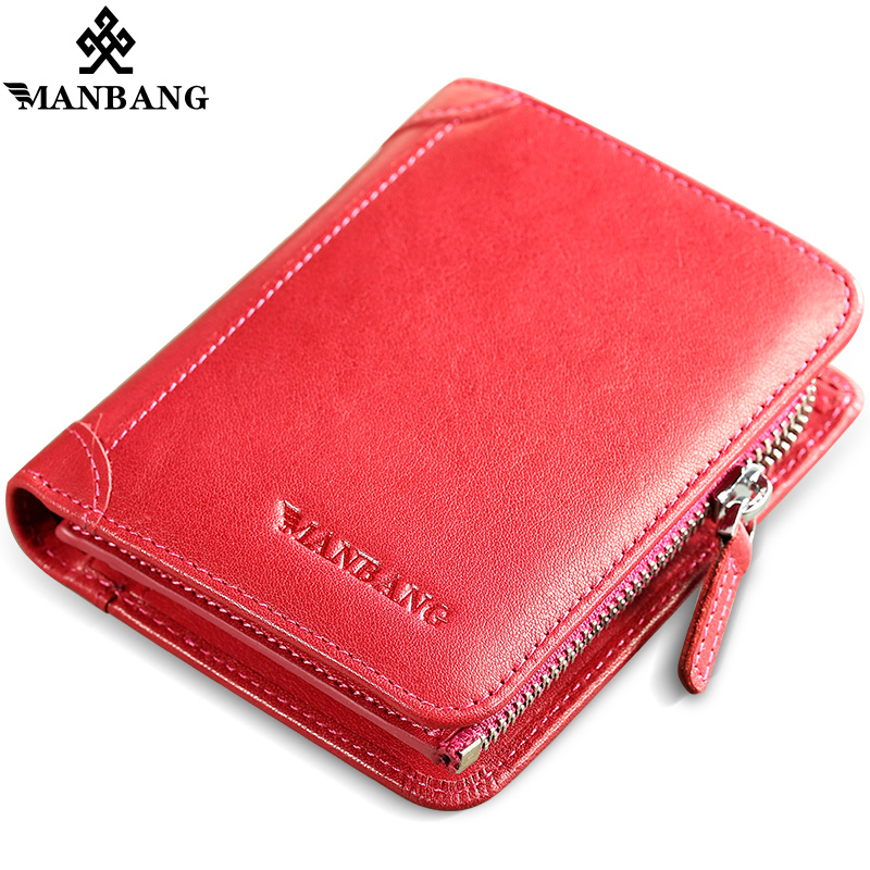ManBang Genuine Leather Women Wallets Bifold Wallet ID Card holder Coin Purse Pockets Clutch with zipper lady style wallet