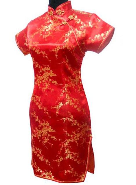 Vintage Black Female Short Dress Chinese Traditional Women Qipao Dresses Satin Flower Cheongsam S M L XL XXL XXXL 4XL 5XL 6XL