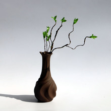 Stoneware Dried Flower Vase Ceramic Living Room Porch Decorations Retro Lines Jardiniere Wedding Gift Home Decor Potiche