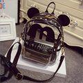 Orelhas de rato Bonito dos desenhos animados Transparente Claro Backpack Mulheres Preto Ouro Prata limpar geléia mochila mochila Casuais Mochila Rebite