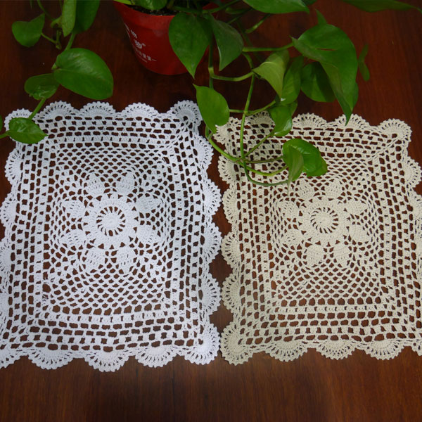 Handmade hook flowers cotton lace pads Many Uses / hollow Square decorative mat coasters / Vintage Europen style
