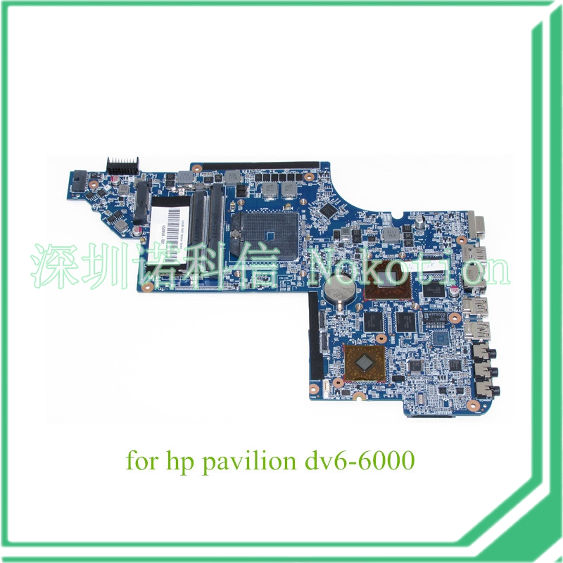 NOKOTION laptop motherboard for HP PAVILION DV6 SYSTEMBOARD HD6750 1GB GRAPHICS MEMORY 650854-001 nokotion 665284 001 laptop motherboard for hp dv6 dv6 6000 ddr3 hd6750 1gb graphics mainboard full tested