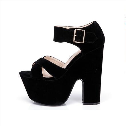 ФОТО Women wedding shoes peep toe 15 cm square heels buckle strap 7 cm platform lace-up bridal sweet sandals black red apricot