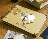 Amor creativo corazón cortado scrapbook con rosas/A4 tamaño del libro de Recuerdos/DIY de la foto Álbum/libro de recuerdos de La Boda/regalo de boda libro de visitas