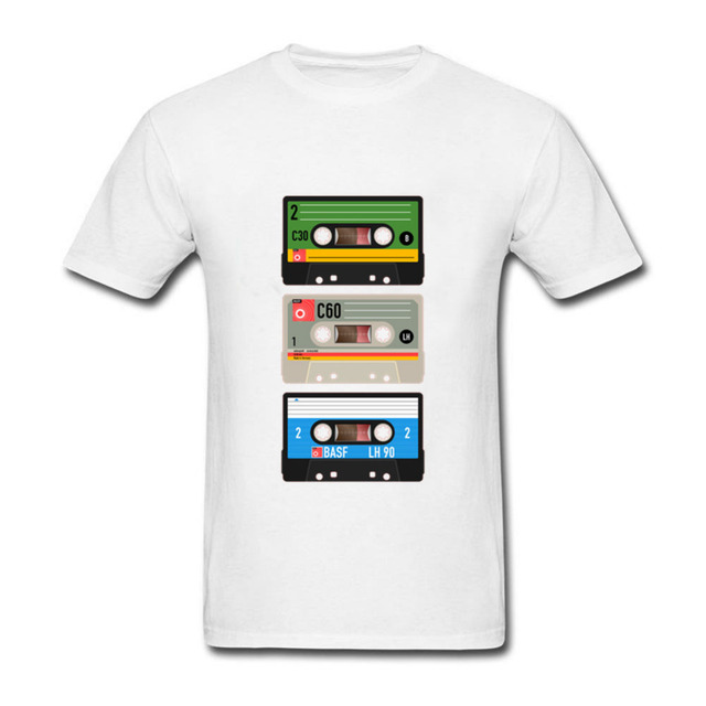 US $5 94 46% OFF|2018 Old School Music DJ Cassette Audio Tape Tops Hipster  Tees Funny Graphic Men's T Shirts Classic Man Crewneck Custom Tee-in