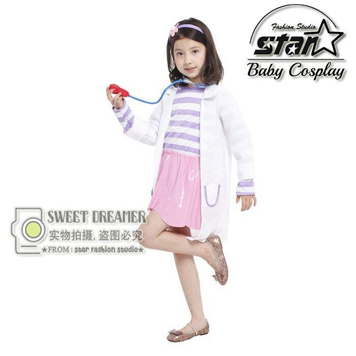 4 Pcs Set Top+Dress+Coat+Headwear Doctor Costume Girl's Cosplay Fantasia Fancy Dress Children Kids Carnival Halloween Costume top doctor españa