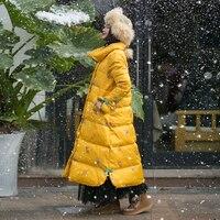 MM212 Новое поступление зима 2017 vintage Стенд воротник свободные длинные бабочки вышитые органзы Белая куртка с утиным пухом пальто женские