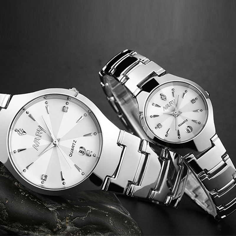 NARY Brand Luxury Women Watch Stainless Steel Band Calendar Rhinestone Men WristWatch Elegant Quartz Dress Watch