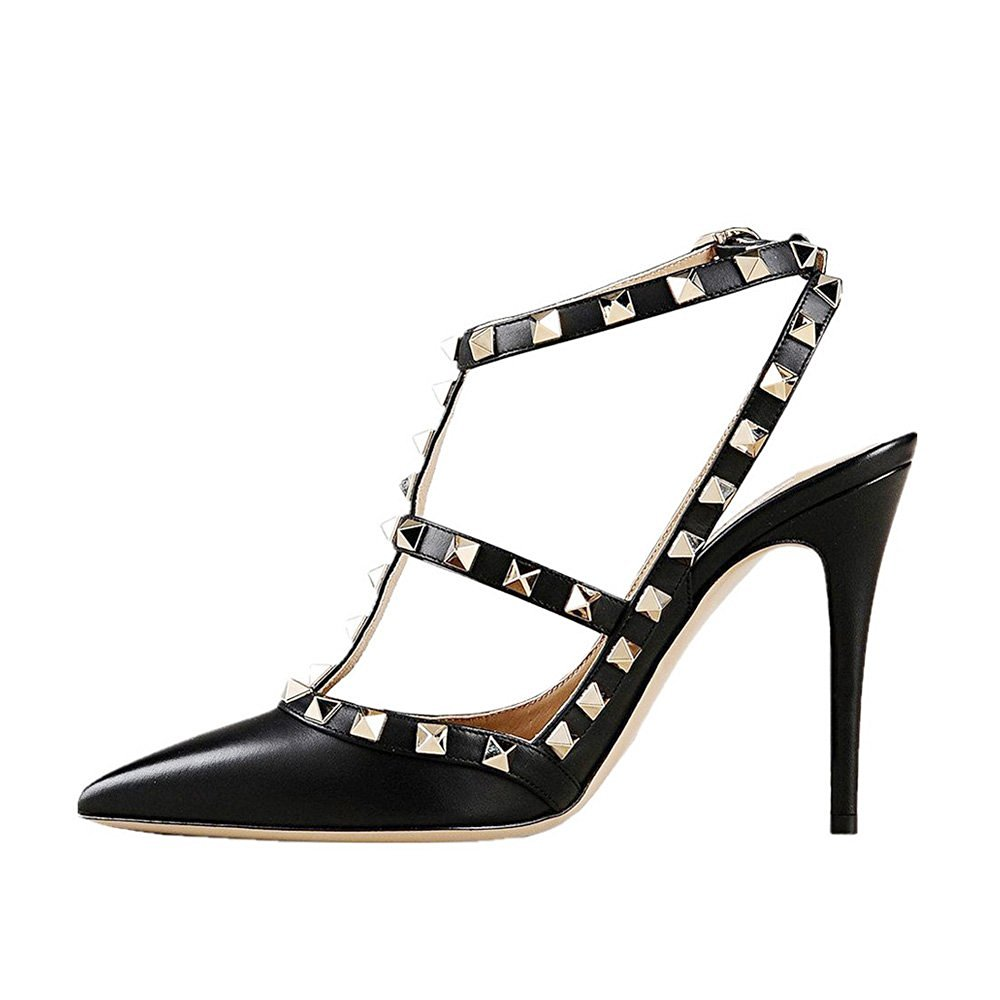 ФОТО 2016 New Fashion Pointed toe stiletto Women's Shoes T-strap Gladiator buckle strap sandals Pumps with rivets big size5-15