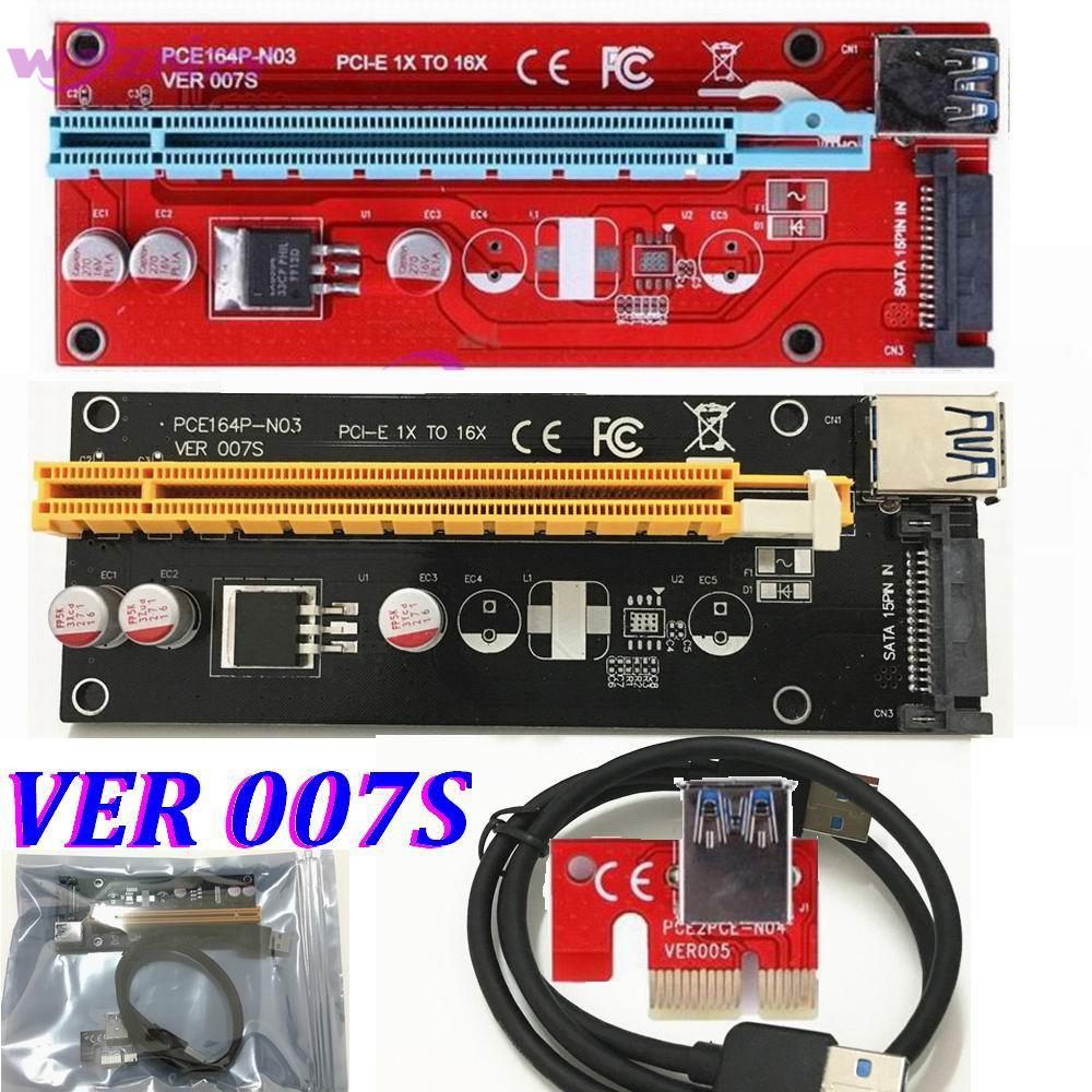 Prix pour VER 007 S Rouge PCI-E PCI E Express 1X à 16X carte graphique Riser Carte SATA Molex Alimentation avec USB 3.0 Câble Pour Bitcoin mineur