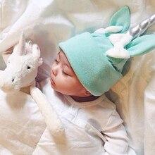 Lovely Newborn Baby Horn Cotton Beanies Hats Bow Ears Hat Caps for Children Kids
