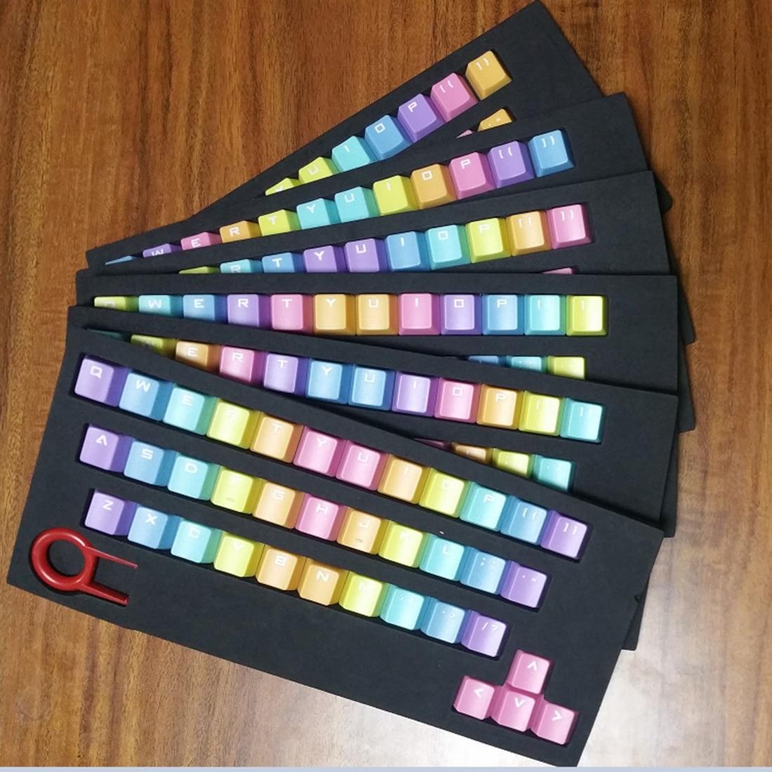 Noyokere retroiluminación PBT 37 llaves doble translucidus retroiluminación retroiluminada Rainbow keycaps para teclado mecánico