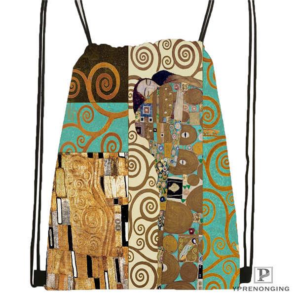 Custom Gustav_klimt_@2 Drawstring Backpack Bag Cute Daypack Kids Satchel (Black Back) 31x40cm#2018612-01-(5)