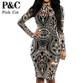 XXXL Plus Size Sexy women Tribal tattoo sheer print mesh party dress women evening club dress summer bodycon dress women dress