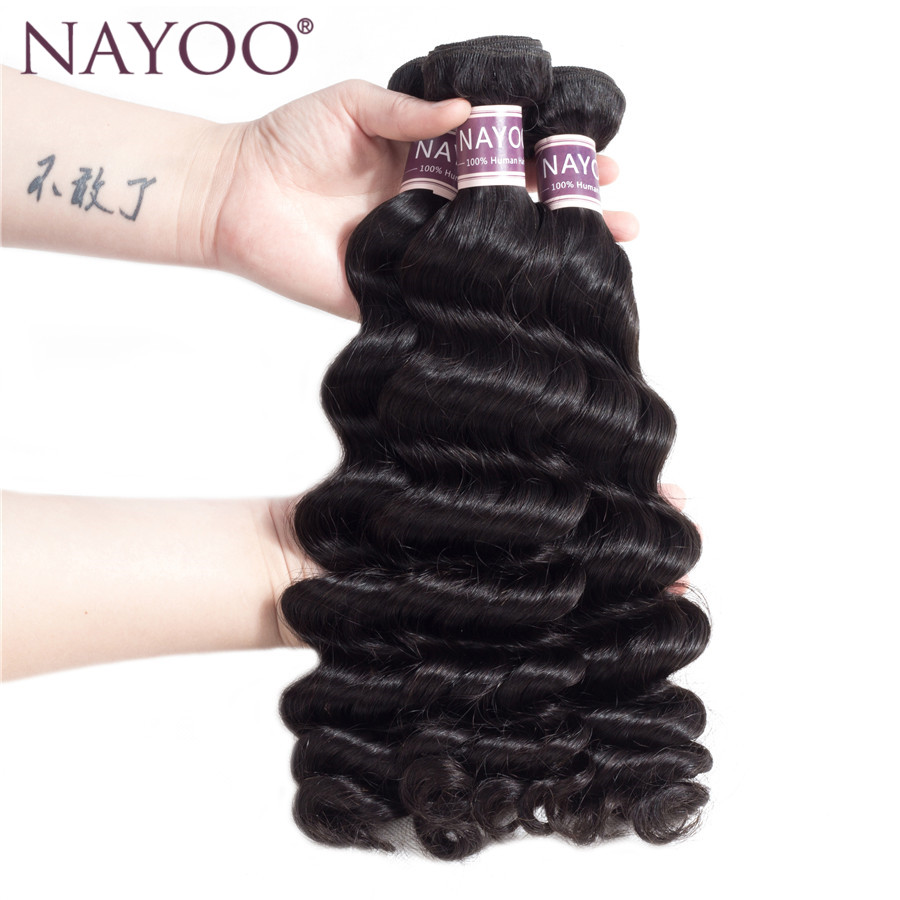 NAYOO Mongolia Loose Deep Weave 3 Bundles Natural Color 100% Human Non Remy Hair Extensions Machine Double Weft