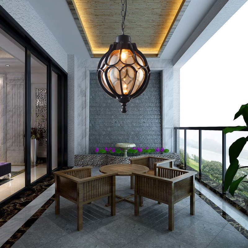 Simple Outdoor Kitchens: Personalized Vintage Pendant Lamps Simple Outdoor Balcony