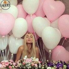 50 adet 2.2g 10 inç kırmızı pembe beyaz kalp lateks balonlar düğün evlilik doğum günü partisi dekorları şişme helyum Globos teklif
