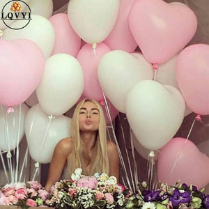 Image 1 - 50pcs 2.2g 10inch Red Pink White Heart Latex Balloons Wedding Marriage Birthday Party Decors Inflatable Helium Globos Proposal