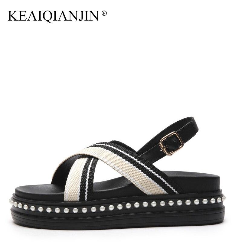 KEAIQIANJIN Woman Genuine Leather Flat Open Toe Sandal Fashio Black High Heels Shoes Plus Size 40 Summer String Bead Sandals