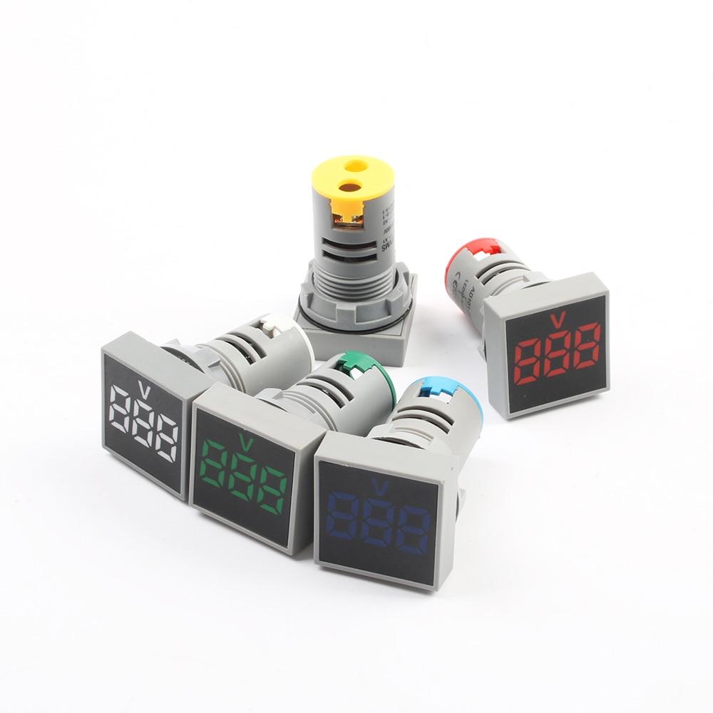 22mm Quadrado Faixa De Medição de Corrente AC 0-100A 20-500V Volt Voltímetro amperímetro digital de medidor de tensão indicador lâmpada piloto