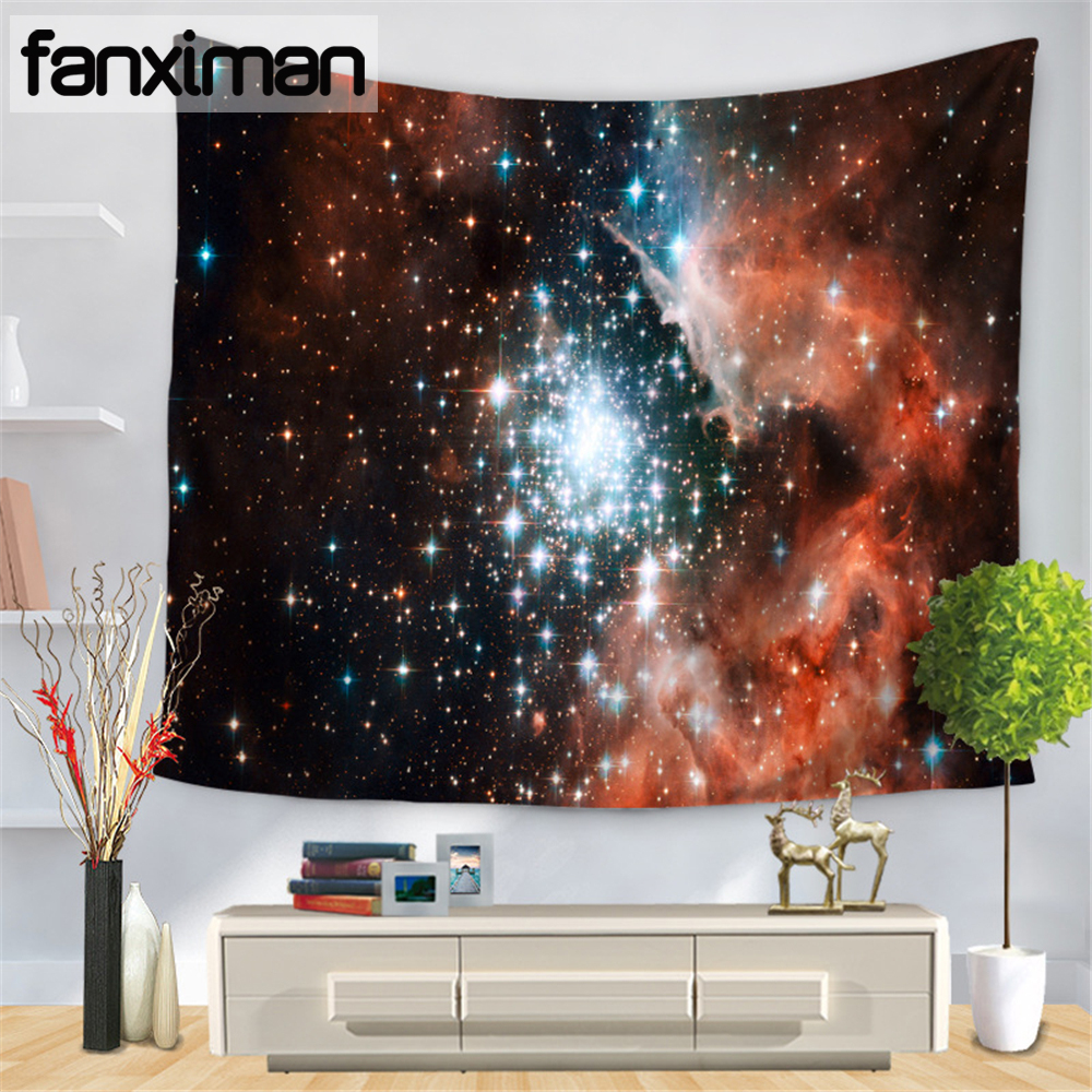 Fanximan Customized Galaxy Print Wall Tapestry Home Living Decor Starry Sky Tapestries Hangings Multi Use Blanket Table Cloth